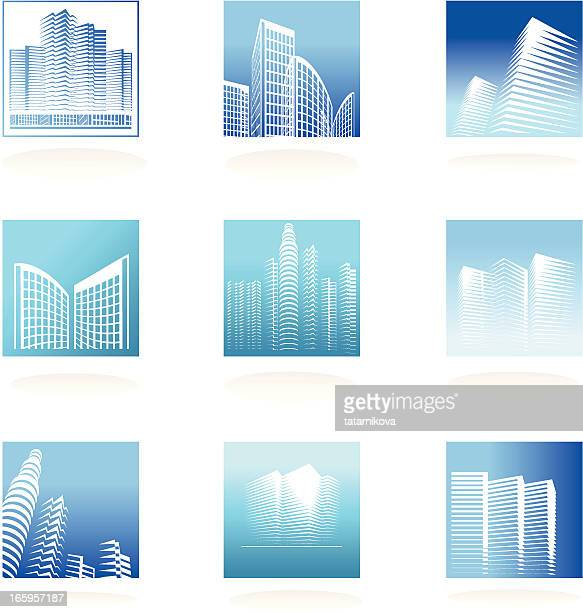 real estate logos set - tower stock illustrations