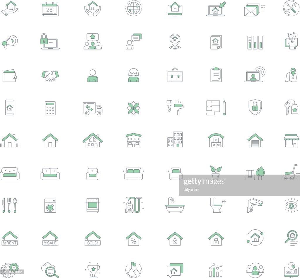 Real Estate Management Vector Line icon set