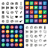 Real Estate Market All in One Icons Black & White Color Flat Design Freehand Set