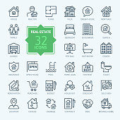 Real Estate minimal thin line web icon set. Outline icons collection.