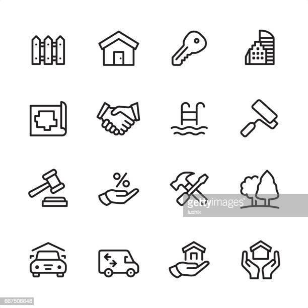 real estate - outline icon set - house exterior stock illustrations, clip art, cartoons, & icons