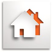 3D real estate paper cut-out on orange background