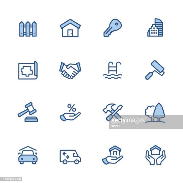 real estate - pixel perfect blue outline icons - auction stock illustrations
