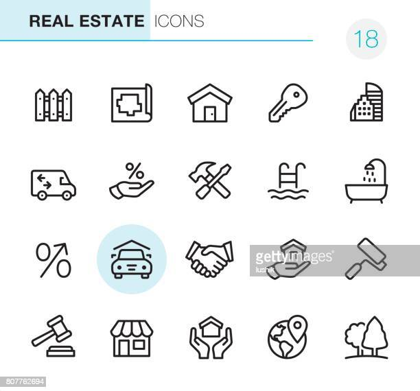 real estate - pixel perfect icons - house exterior stock illustrations, clip art, cartoons, & icons