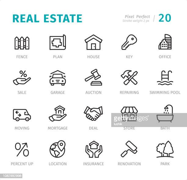 real estate - pixel perfect line icons with captions - selling stock illustrations