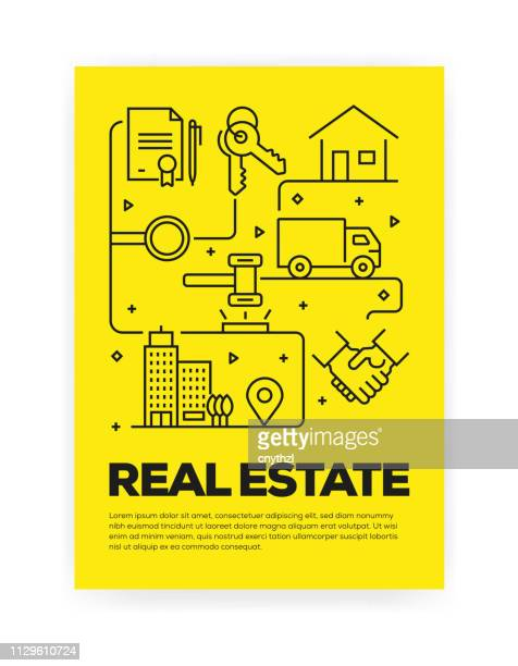 real estate related line style cover design for annual report, flyer, brochure. - mortgage loan stock illustrations
