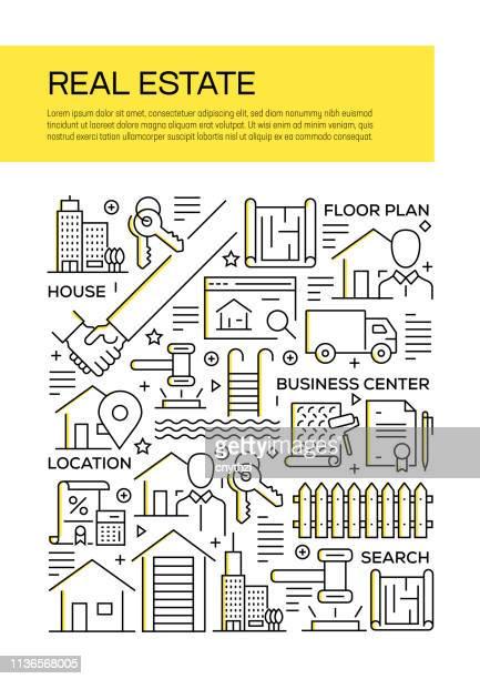 real estate related line style cover design for annual report, flyer, broschüre. - zwischenbericht stock-grafiken, -clipart, -cartoons und -symbole