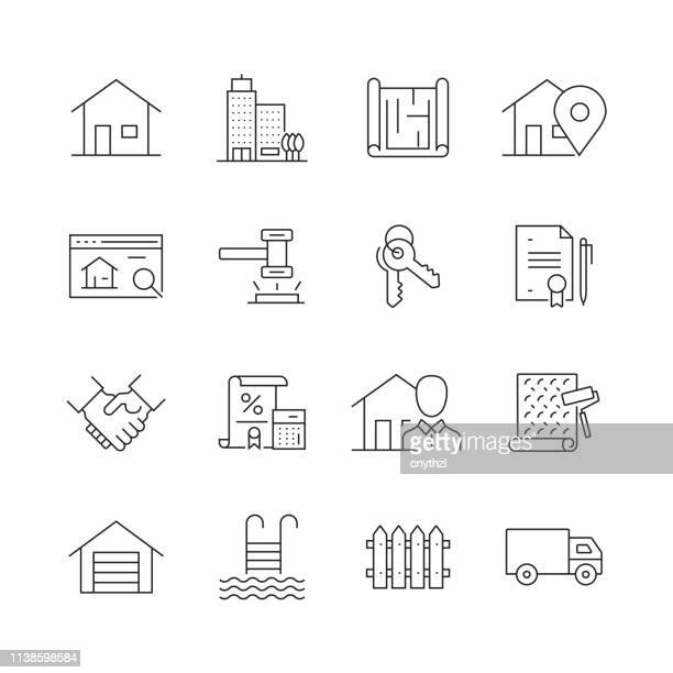 real estate related - set of thin line vector icons - housing difficulties stock illustrations