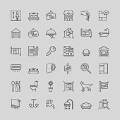 Real estate related vector line icons set