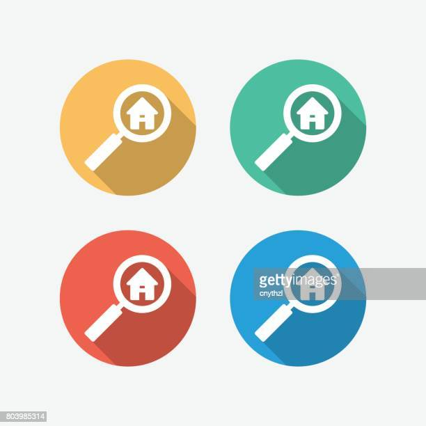 real estate search flat icon - inspector stock illustrations, clip art, cartoons, & icons