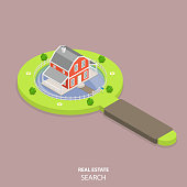 Real estate search flat isometric vector concept.