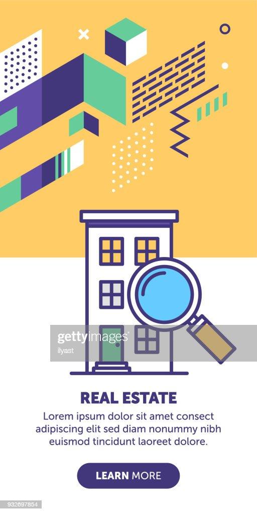 Inmobiliaria búsqueda Banner : Ilustración de stock