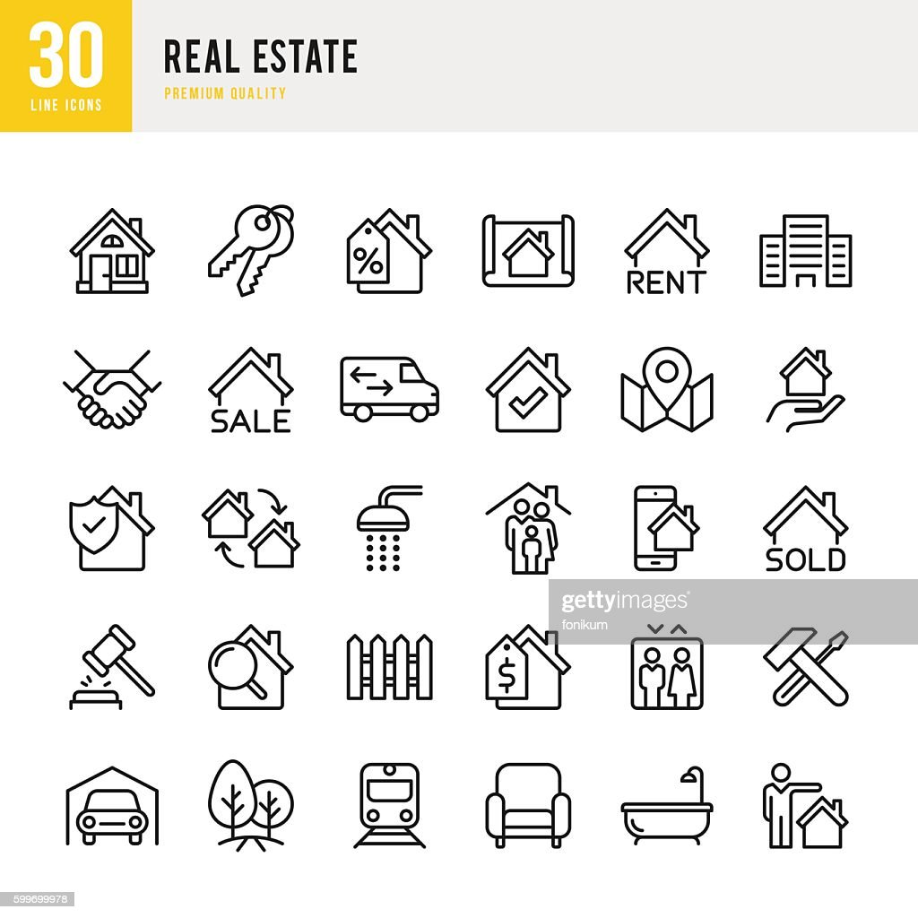 Real Estate - set of thin line vector icons : Stock Illustration