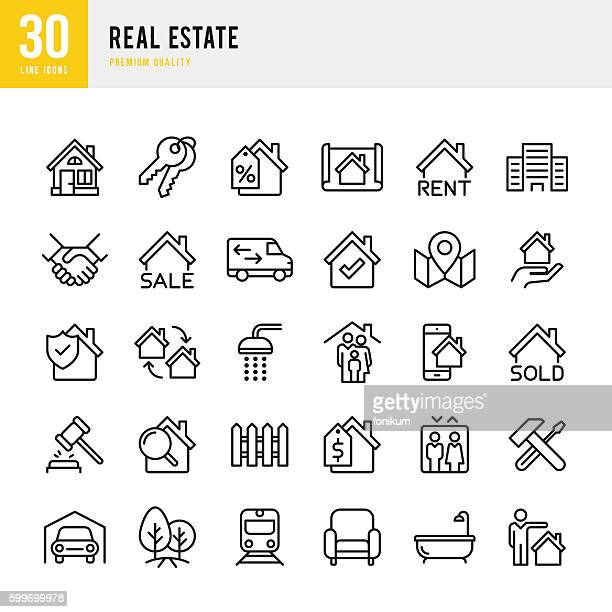 ilustraciones, imágenes clip art, dibujos animados e iconos de stock de real estate - set of thin line vector icons - casa alquilada