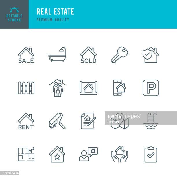 real estate - set of thin line vector icons - legal document stock illustrations, clip art, cartoons, & icons