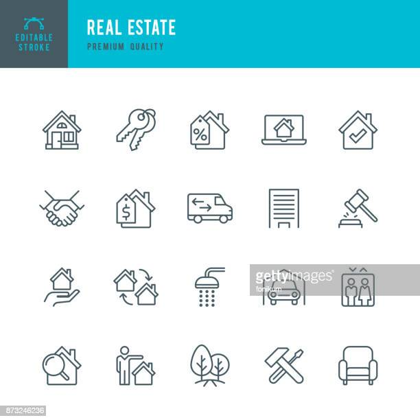 real estate - set of thin line vector icons - commercial land vehicle stock illustrations