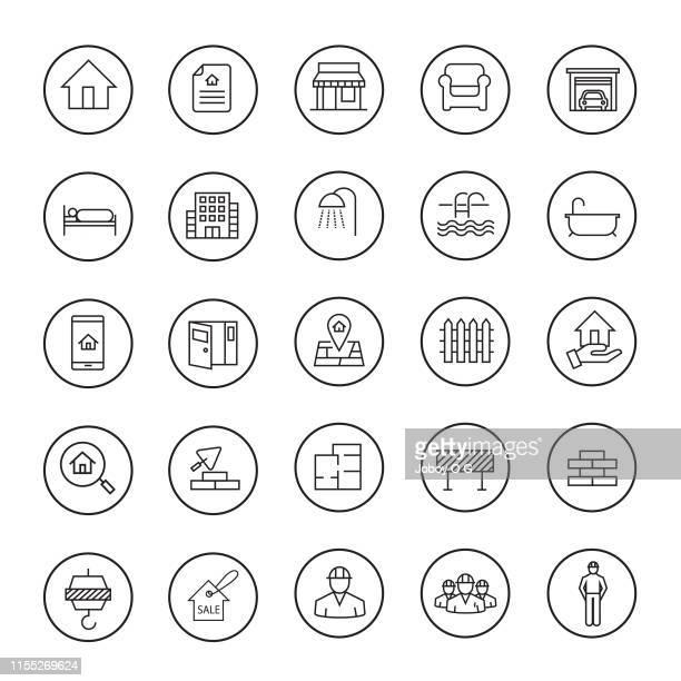 immobilienset - gewerbeimmobilie stock-grafiken, -clipart, -cartoons und -symbole