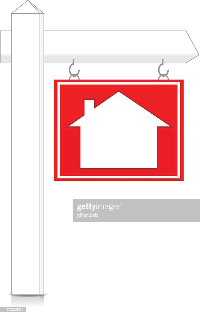 Real Estate Sign On Post : stock illustration