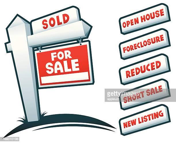 real estate signs - subprime loan crisis stock illustrations