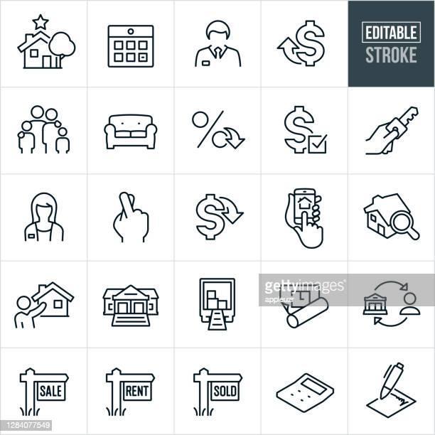 immobilien thin line icons - editable stroke - erschwinglich stock-grafiken, -clipart, -cartoons und -symbole