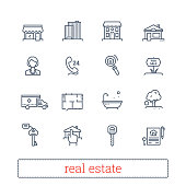 Real estate thin line icons. Leasing, renting, buying and selling realty signs.