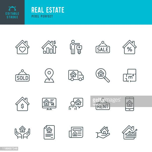 real estate - thin linear vector icon set. editable stroke. pixel perfect. the set contains icons real estate agent, home insurance, sale, rent, location, truck. - house stock illustrations