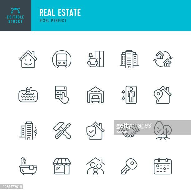 real estate - thin linear vector icon set. editable stroke. pixel perfect. the set contains icons real estate agent, home insurance, sale, rent, location, truck. - icon set stock illustrations