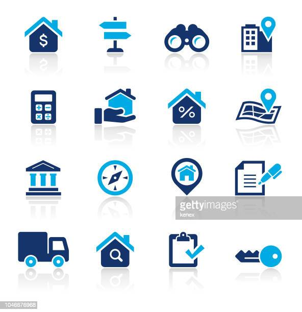 real estate two color icons set - new home stock illustrations, clip art, cartoons, & icons