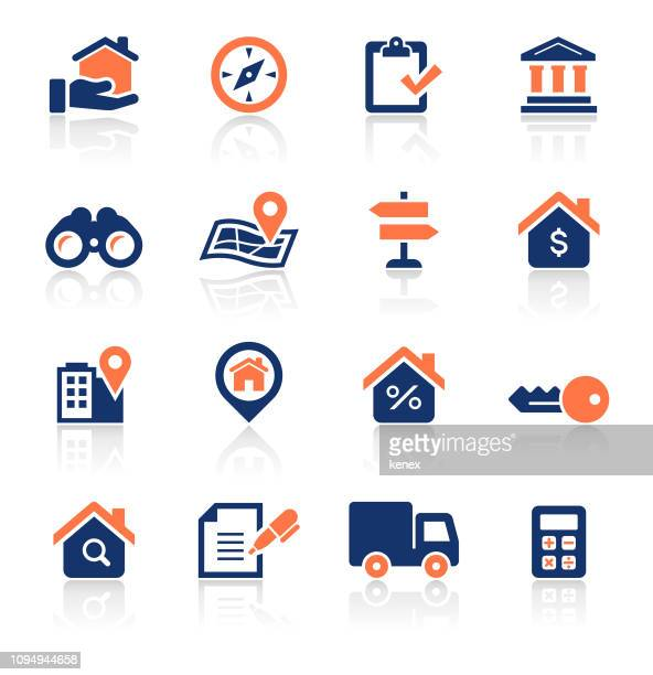 real estate two color icons set - loan stock illustrations