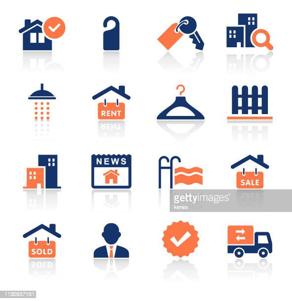 real estate two color icons set - key stock illustrations