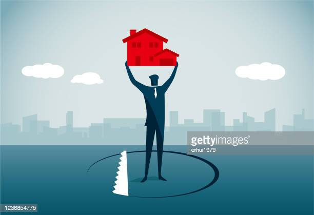 real estate - holding up sign stock illustrations