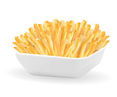 real french fries in a white bowl