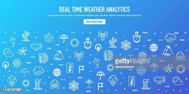 Real Time Weather Analytics Outline Style Web Banner Design