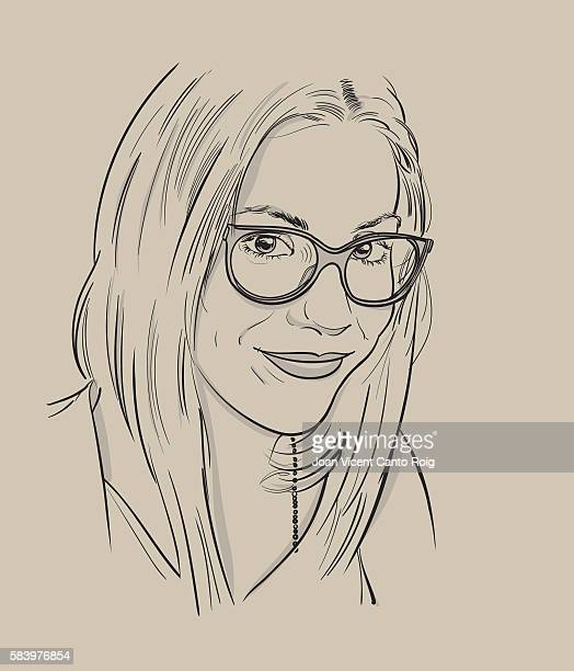 Real young smiling woman with glasses