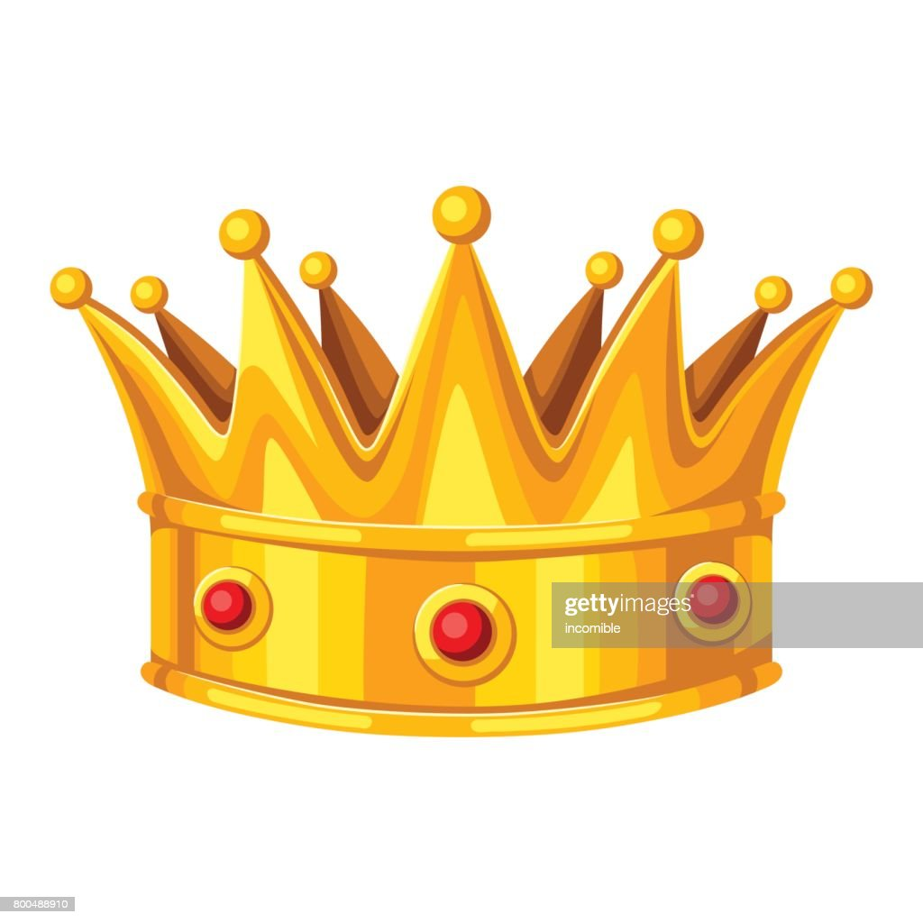 Realictic gold crown with red rubies. Illustration of award for sports or corporate competitions