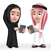 Realistic 3D Arab Kids Characters Boy and Girl