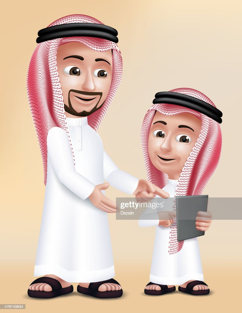 Realistic 3D Arab Teacher Man Character Teaching Boy Student