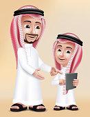 Realistic 3D Arab Teacher Man Character Teaching Boy Student