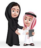Realistic 3D Arab Teacher Woman Character Teaching Boy Student
