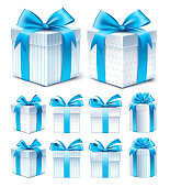 Realistic 3D Collection of Colorful Blue Pattern Gift Box
