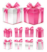 Realistic 3D Collection of Colorful Pink Pattern Gift Box