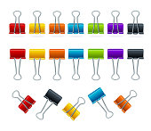 Realistic 3d Detailed Color Binder Clips Set. Vector
