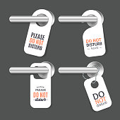 Realistic 3d Detailed Do Not Disturb Sign and Door Handle Set. Vector