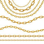 Realistic 3d Detailed Golden Chain Set. Vector