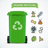 Realistic 3d Detailed Trash Bin Organic Recycling Concept. Vector