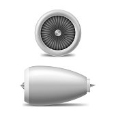 Realistic 3d Detailed White Jet Engine Set. Vector