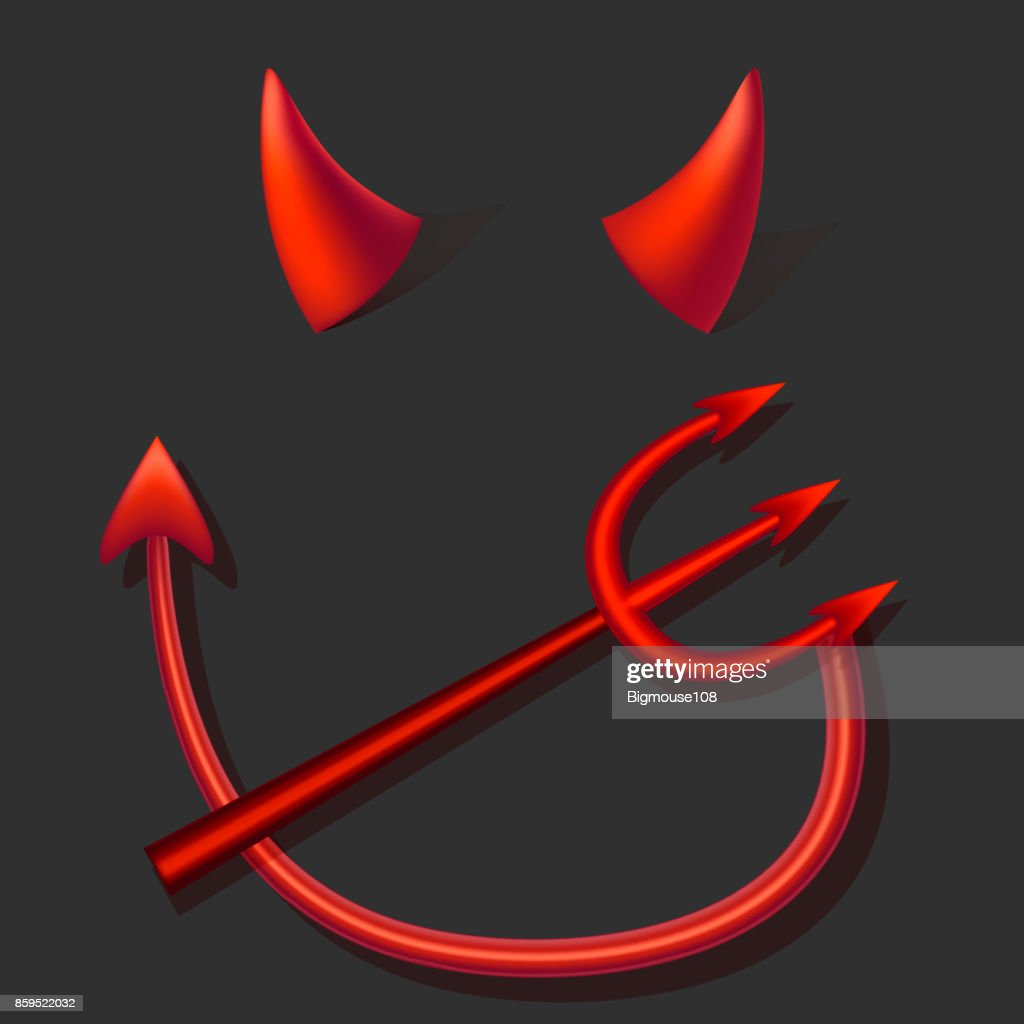 Realistic 3d Devil Red Horns Tail and Fork Set. Vector