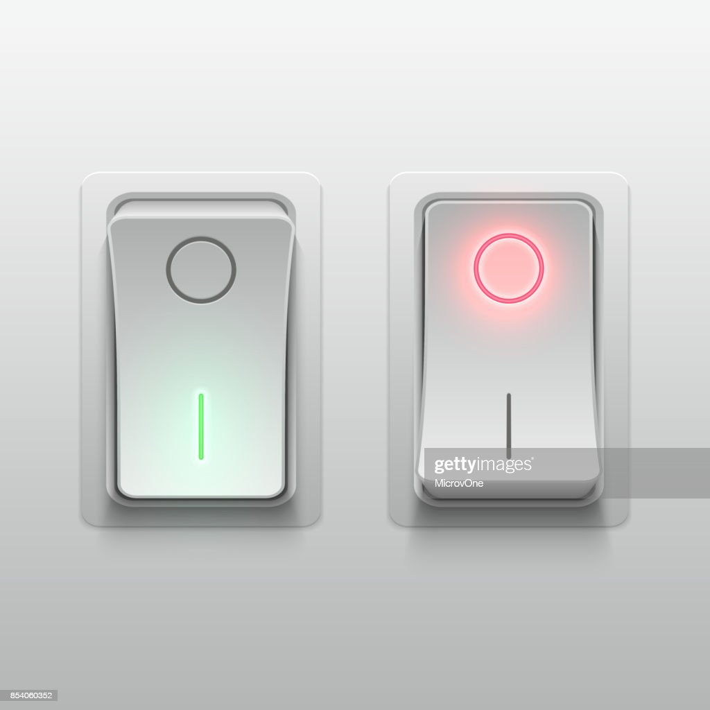 Realistic 3d electric toggle switches vector illustration
