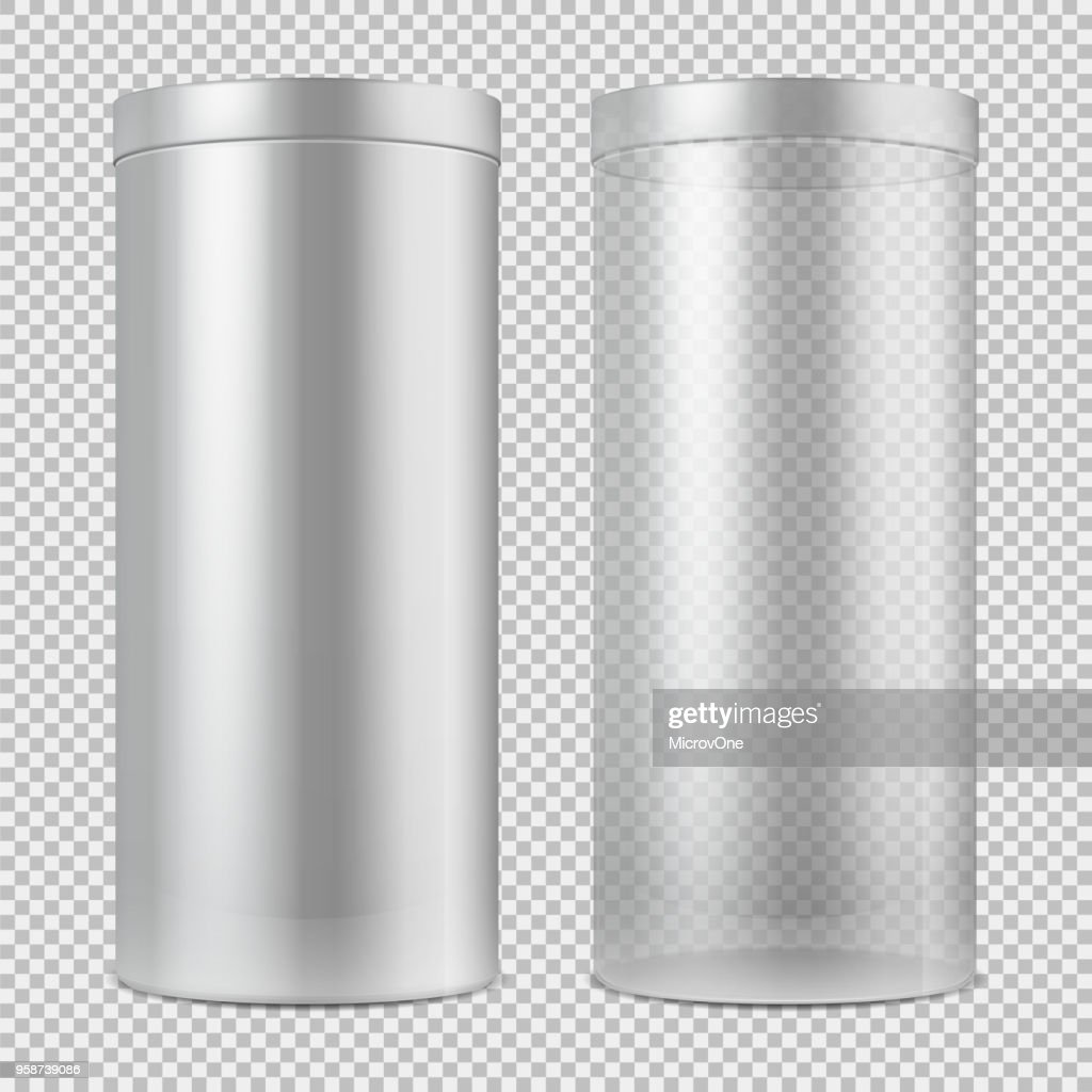 Realistic 3d empty transparent glass jar and and white can with lid. Package for food, cookies and gifts vector template isolated