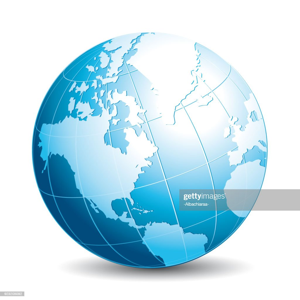 Realistic 3d globe. Ecology, travel, exchange or connectivity vector icon.